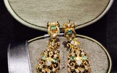 Smaragd Diamant Øreringe